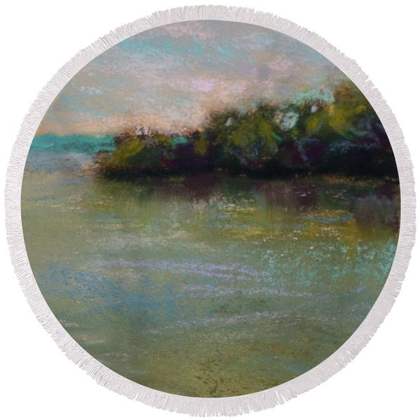Whispers Of Green Round Beach Towel