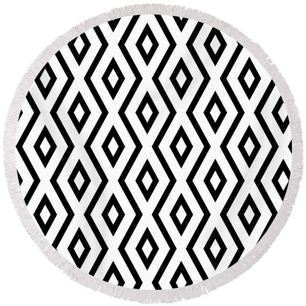 White And Black Pattern Round Beach Towel