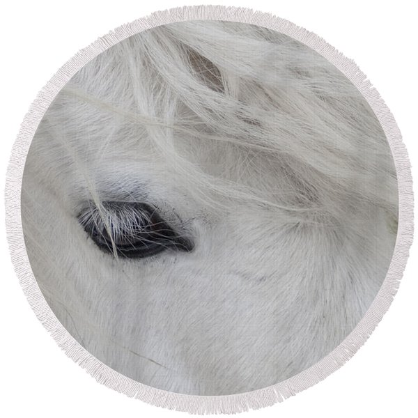 White Pony Round Beach Towel