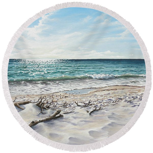 White Sands Of Tiger Tail Round Beach Towel