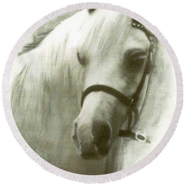 White Welsh Pony Round Beach Towel