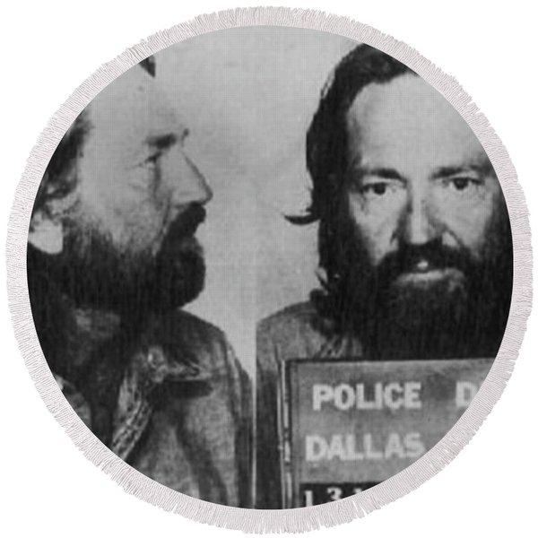 Willie Nelson Mug Shot Horizontal Black And White Round Beach Towel