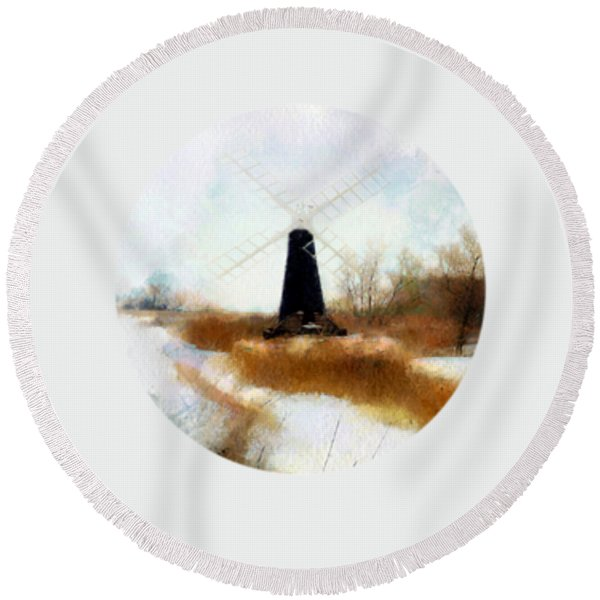 Windmill In The Snow Round Beach Towel