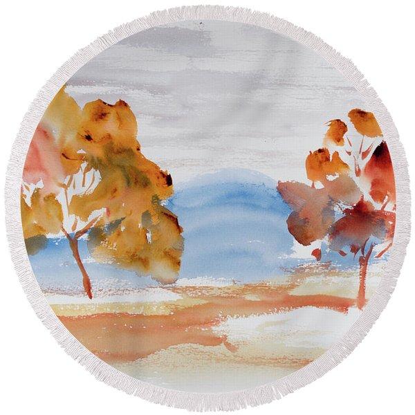 Windy Autumn Colours  Round Beach Towel