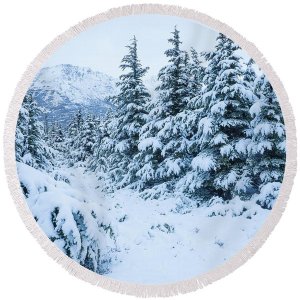 Round Beach Towel featuring the photograph Winter Arrives by Tim Newton