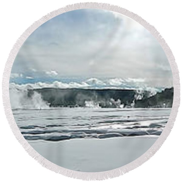 Winter At Grand Prismatic Round Beach Towel