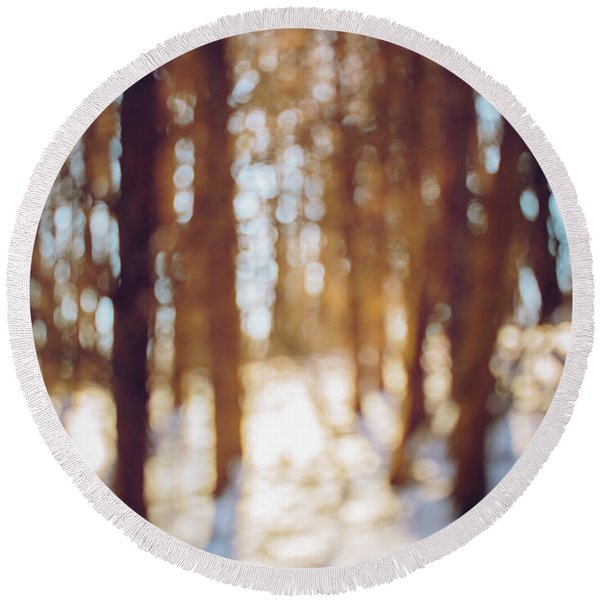 Winter In Snow Round Beach Towel