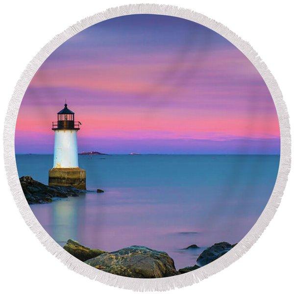 Winter Island Light 1 Round Beach Towel