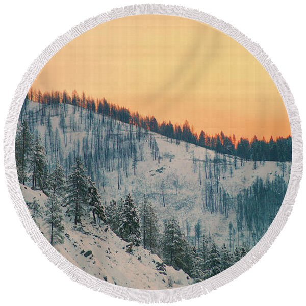 Winter Mountainscape  Round Beach Towel
