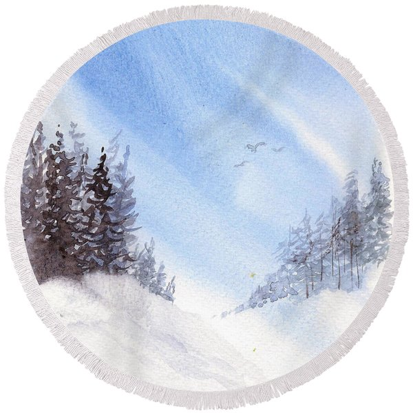 Winter Pines Round Beach Towel