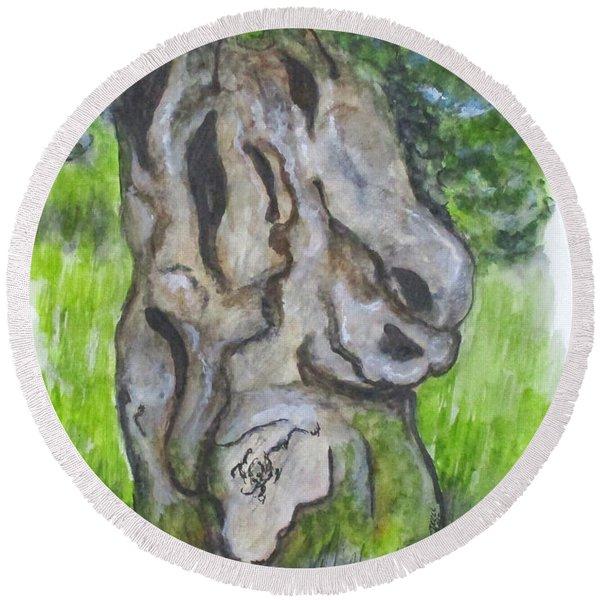 Wisdom Olive Tree Round Beach Towel