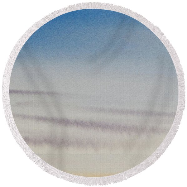 Wisps Of Clouds At Sunset Over A Calm Bay Round Beach Towel