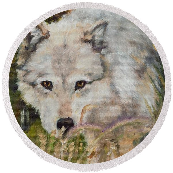 Wolf Among Foxtails Round Beach Towel