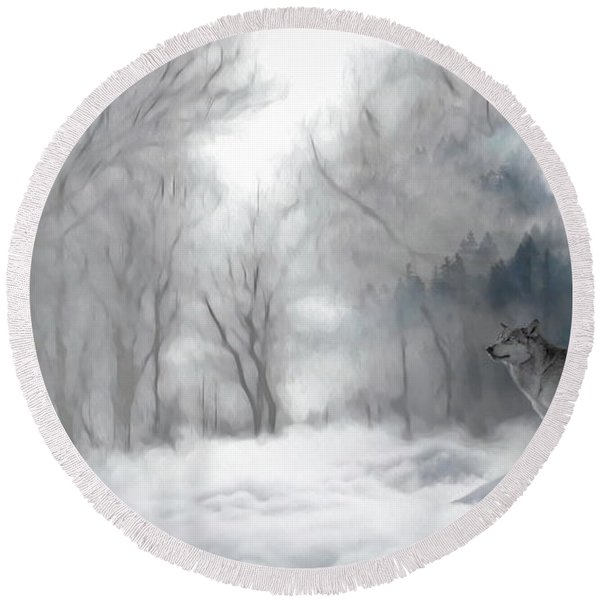 Wolves In The Mist Round Beach Towel