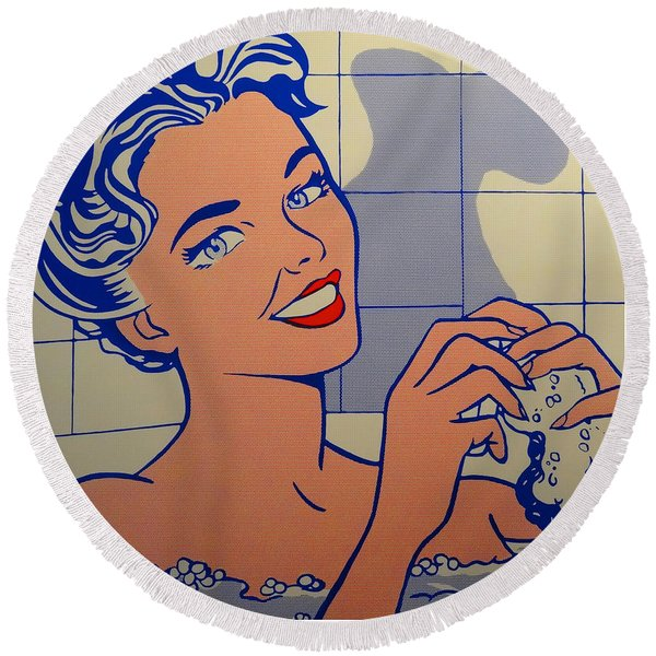 Woman In Bath Round Beach Towel