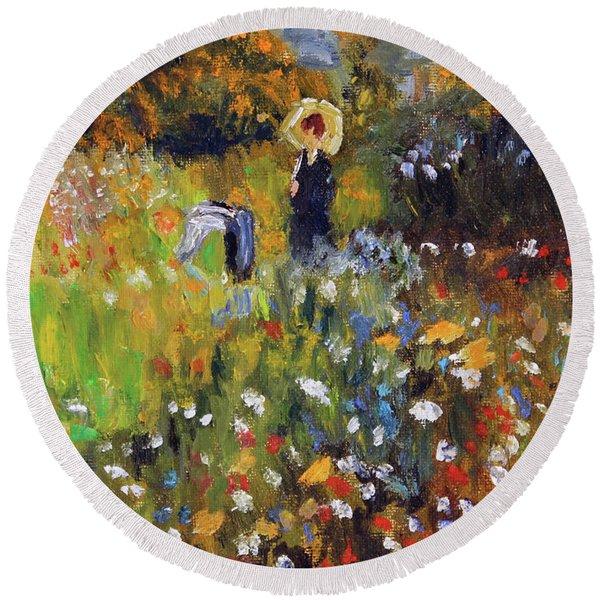 Woman In The Garden After Renoir Round Beach Towel