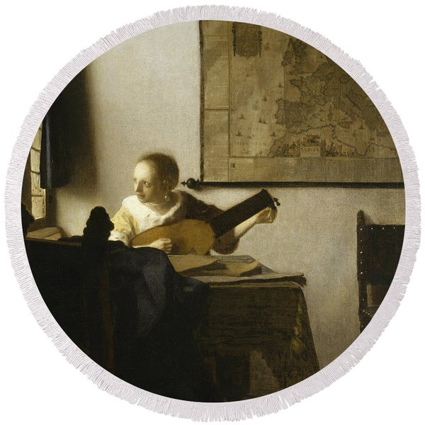 Woman With A Lute Near A Window Round Beach Towel