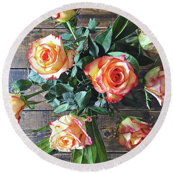 Wood And Roses Round Beach Towel