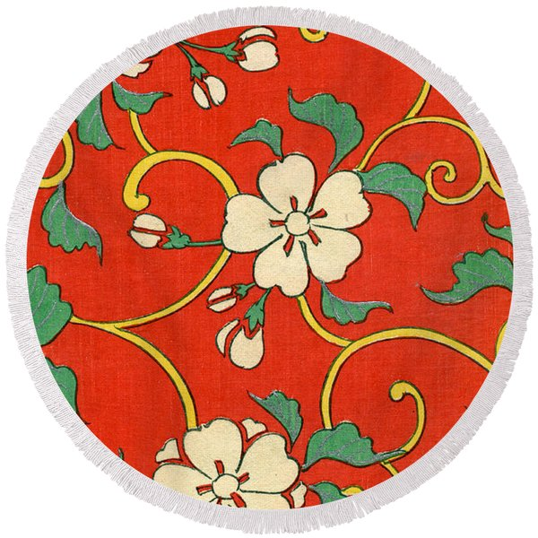 Woodblock Print Of Apple Blossoms Round Beach Towel