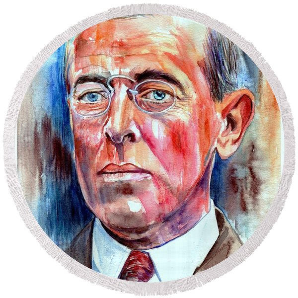 Woodrow Wilson Painting Round Beach Towel