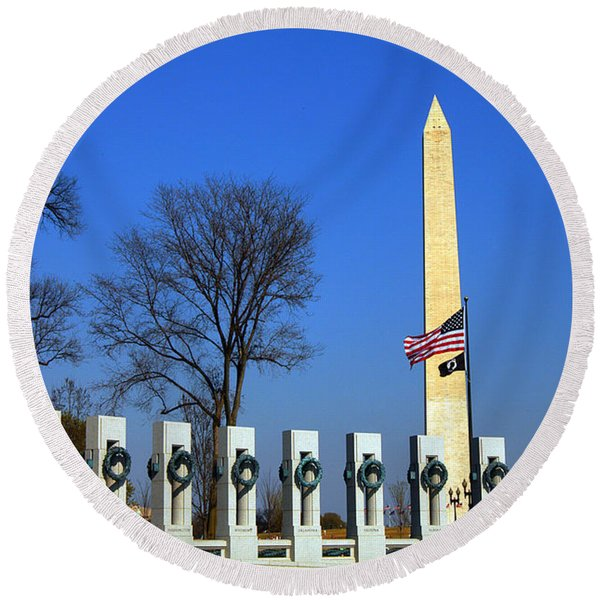 World War II Memorial And Washington Monument Round Beach Towel