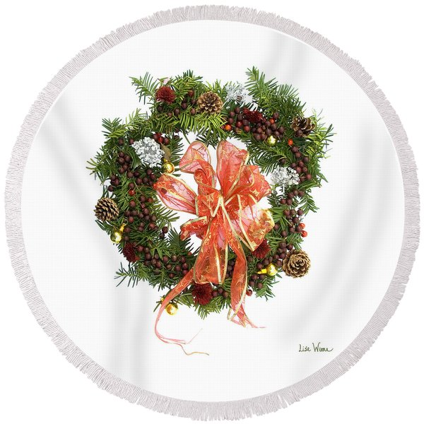 Wreath With Bow Round Beach Towel