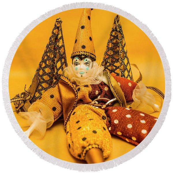 Yellow Carnival Clown Doll Round Beach Towel