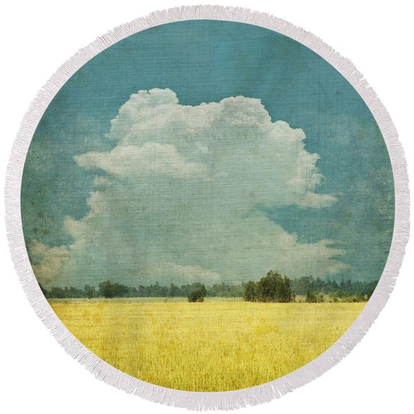 Yellow Field On Old Grunge Paper Round Beach Towel