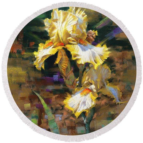 Yellow Iris II Round Beach Towel