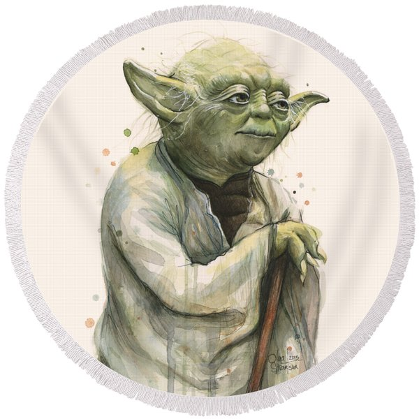 Yoda Portrait Round Beach Towel