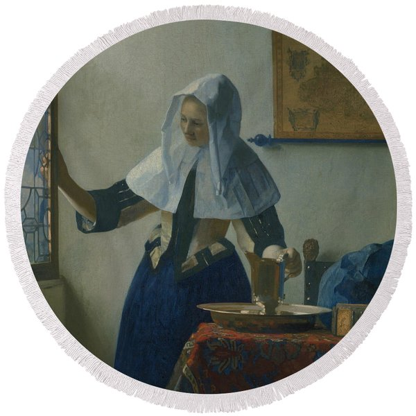 Young Woman With A Water Pitcher  Round Beach Towel