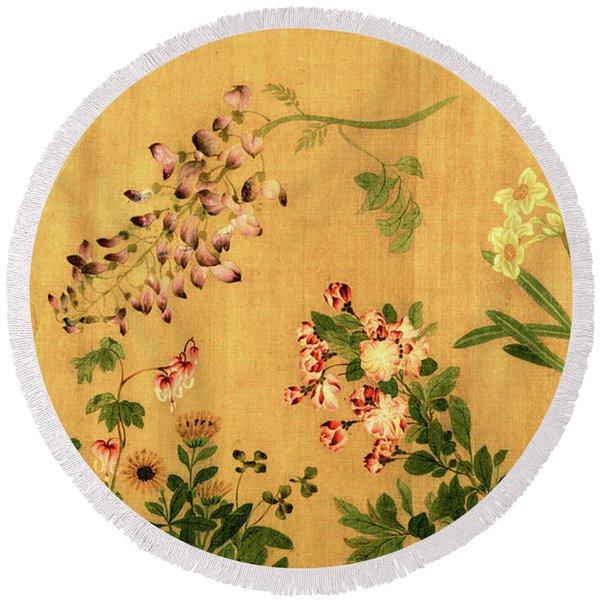 Yuan's Hundred Flowers Round Beach Towel