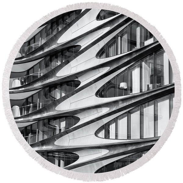 Round Beach Towel featuring the photograph zaha hadid Architecture in NYC by Michael Hope