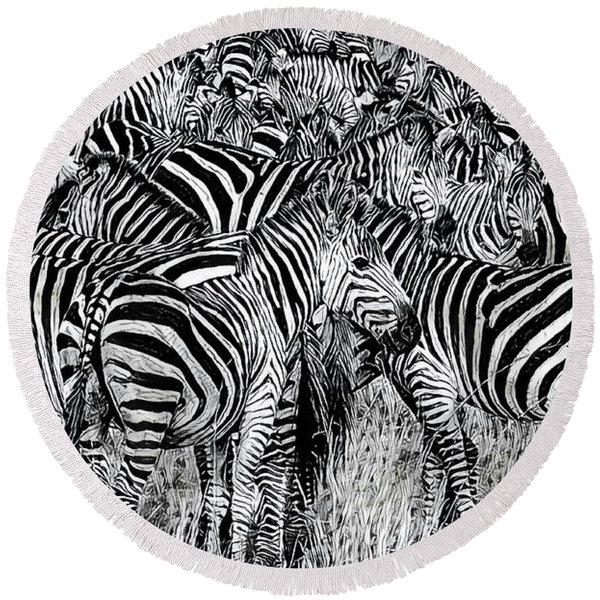 Zebra - Black And White Round Beach Towel