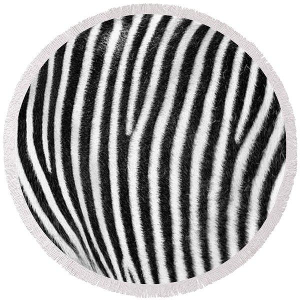 Zebra Print Black And White Horizontal Crop Round Beach Towel