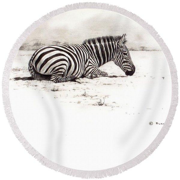 Zebra Sketch Round Beach Towel