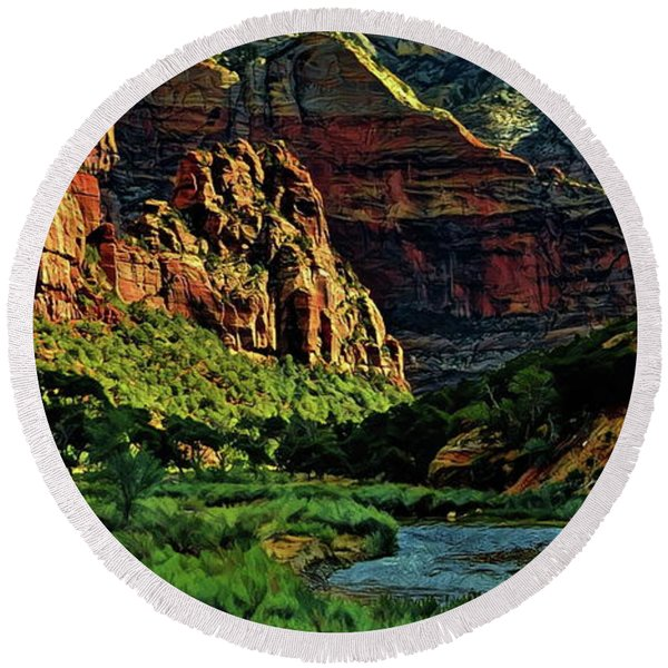 Zion Canyon River Round Beach Towel