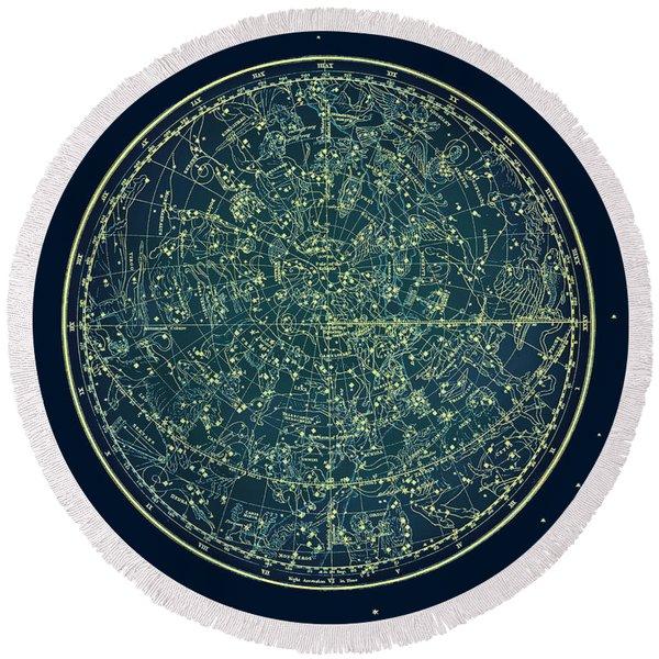 Zodiac Star Map Round Beach Towel