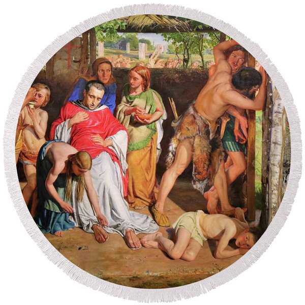 A Converted British Family Sheltering A Christian Missionary From The Persecution Of The Druids Round Beach Towel