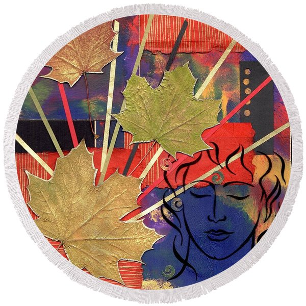 Michael The Angel Round Beach Towel