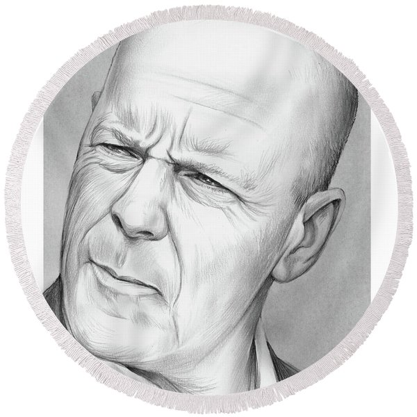 Bruce Willis Round Beach Towel