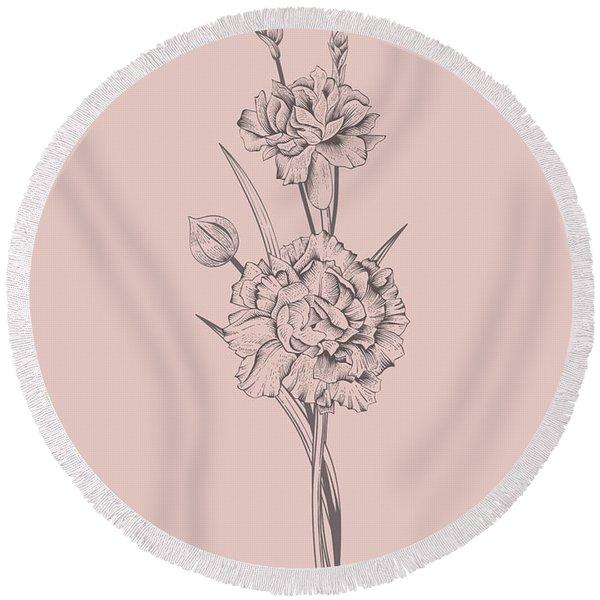 Carnation Blush Pink Flower Round Beach Towel