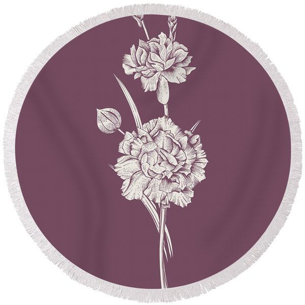 Carnation Purple Flower Round Beach Towel