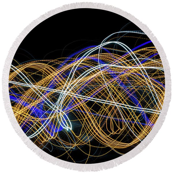 Colorful Light Painting With Circular Shapes And Abstract Black Background. Round Beach Towel