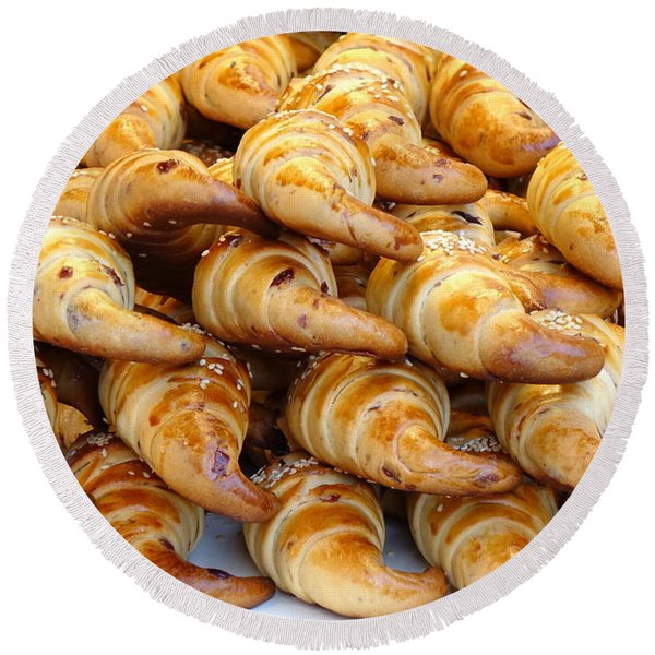 Freshly Baked Croissants Round Beach Towel