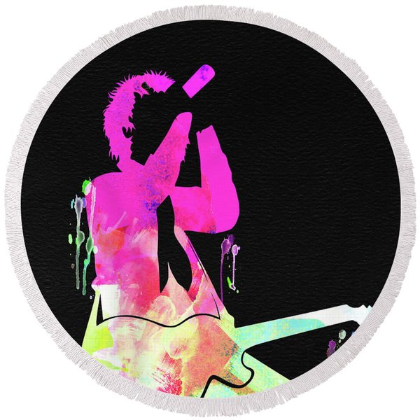 Green Day Watercolor Round Beach Towel