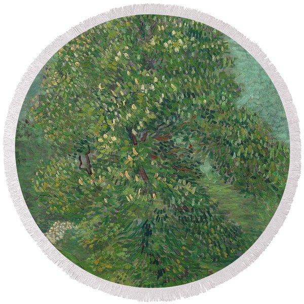 Horse Chestnut Tree In Blossom Round Beach Towel