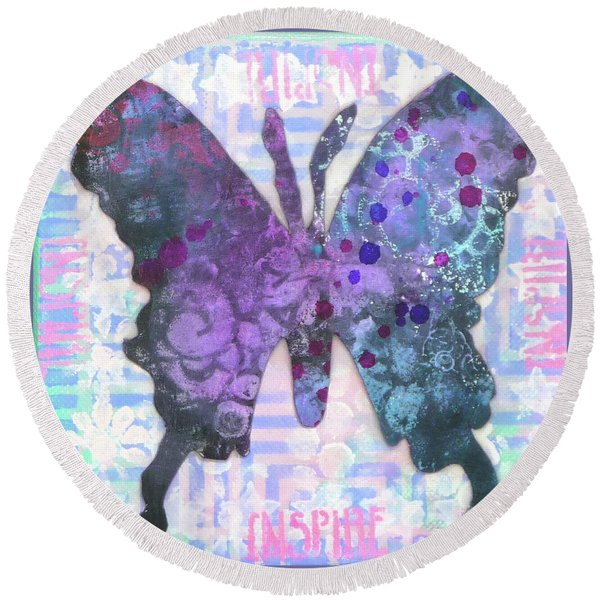 Inspire Butterfly Round Beach Towel