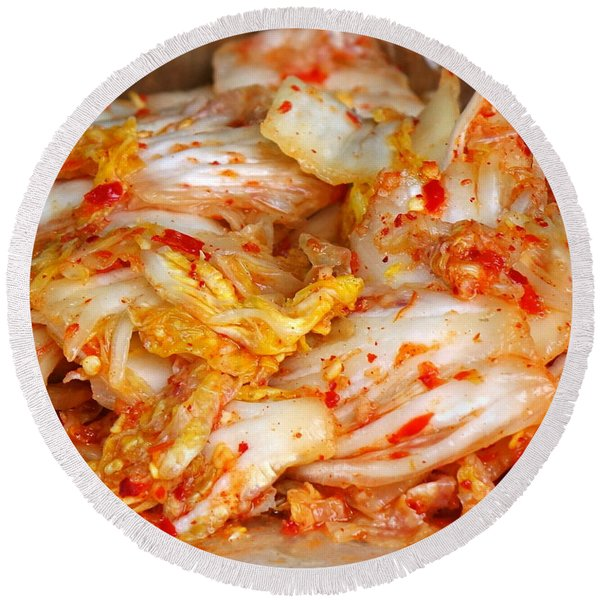 Korean Style Fermented Spicy Cabbage Round Beach Towel