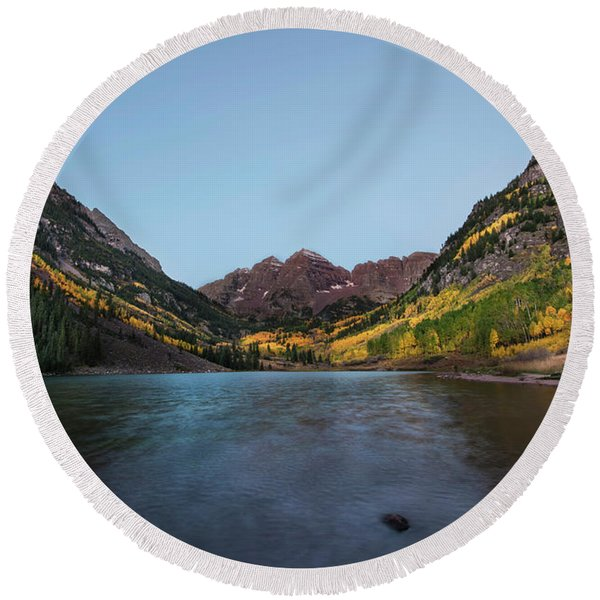 Maroon Bells Round Beach Towel